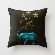 Glitter Bubble Elephant Throw Pillow