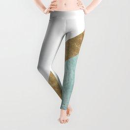 Marble luxe - jade teal Leggings