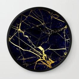 BlueBlack-Gold Marble Galaxy Impress Wall Clock