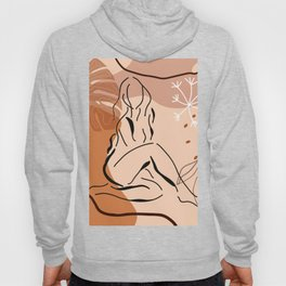 Sensual sitting woman line art, Abstract monstera leaf illustration, Organic floral background Hoody