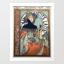 Alphonse Mucha - Au Quartier Latin (In the Latin Quarter, Paris) (1897) Art Print
