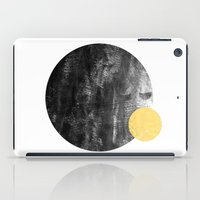 ripley iPad Cases featuring Ripley - abstract marble texture india ink painting minimal white and black with gold canvas art by CharlotteWinter