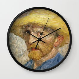 Vincent van Gogh - Self - portrait with Straw Hat Wall Clock