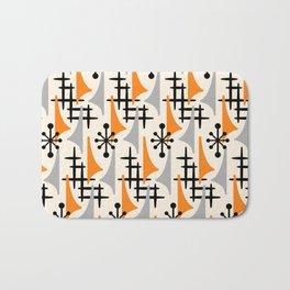 Mid Century Modern Atomic Wing Composition Orange & Gray Bath Mat