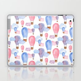 Hot air balloon watercolor pattern Pink and blue Baby illustration Gift for kids Child Laptop & iPad Skin