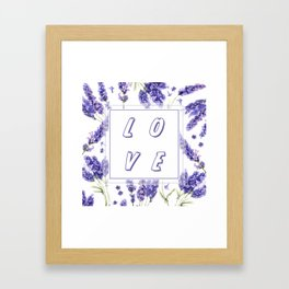 Elegant LOVE Watercolour Lavender Floral Pattern Framed Art Print