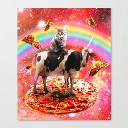 Space Cat Riding Cow Unicorn - Pizza & Taco Canvas Print