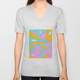 Fluorescent Skies Unisex V-Neck