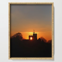 Sunset Over The Royal Observatory at Greenwich Park, London Serving Tray