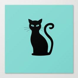 Large Cute Black Cat on Aqua Blue Canvas Print