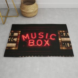 The Music Box Neon Sign Chicago Illinois Arthouse Theatre Vintage Cinema Movie House Theater Rug