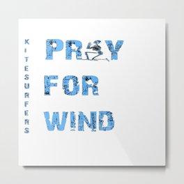 Kiteboarding Humor Kneeling Skeleton Praying For Wind Metal Print