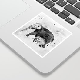Family of elephants, black and white Sticker