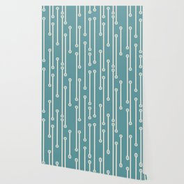 Dotted Lines in Teal, Cream and Sea Foam Wallpaper