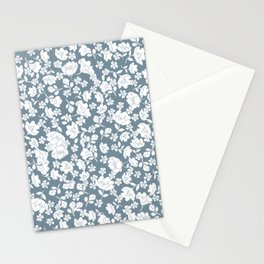 White flowers on blue font Stationery Cards