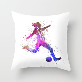 Girl playing soccer football player silhouette Throw Pillow
