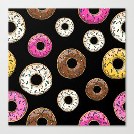 Funfetti Donuts - Black Canvas Print