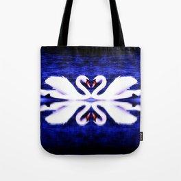 Swans in Love (dark blue-vibrant) Tote Bag