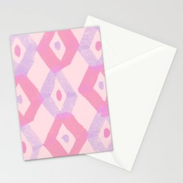 mid century hand panted geometric pattern Stationery Cards