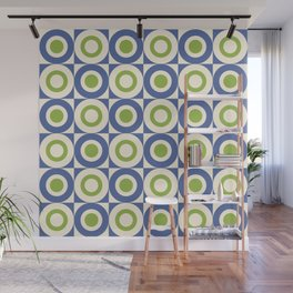 Mid Century Square and Circle Pattern 541 Blue and Green Wall Mural