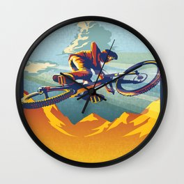 Retro Mountain Bike Poster/ Illustration / fine art print MY AIR MILES Wall Clock
