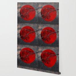 Modern Blood Red Moon Rain Gothic Decor A175 Wallpaper
