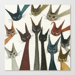 Damascus Whimsical Cats Canvas Print