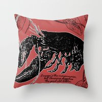 lobster Throw Pillows featuring lobster by Isabella Asratyan