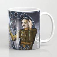 tesla Mugs featuring Tesla by stephane Dietkiewicz