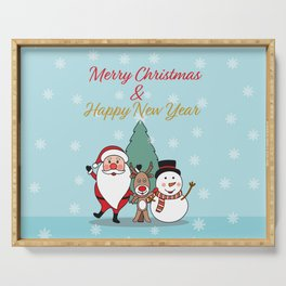 Merry Christmas and Happy New Year Serving Tray