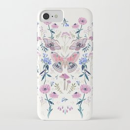 Lilac Butterfly and Flowers iPhone Case
