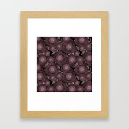 Abstract flowers in black and brown colours . Framed Art Print