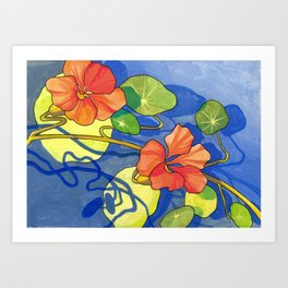 Periwinkle and Coral Flower Print Art Print