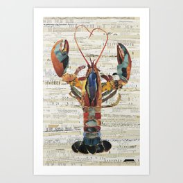 Maine Abstract Colorful Lobster by C.E. White Collage Artist Art Print