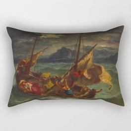 "Eugène Delacroix ""Christ on the Sea of Galilee"" (1854) Rectangular Pillow"