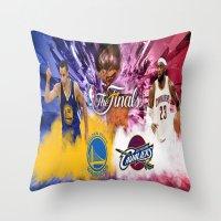 basketball Throw Pillows featuring Basketball  by RickART
