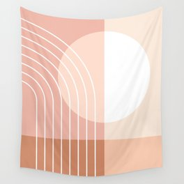 Color Block Geometric Lines in Brown Pastel Shades (Minimalist Sun Rainbow Abstract) Wall Tapestry