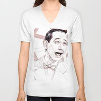 pee wee V-neck T-shirts featuring Pee Wee Herman by Aaron Bir by Aaron Bir