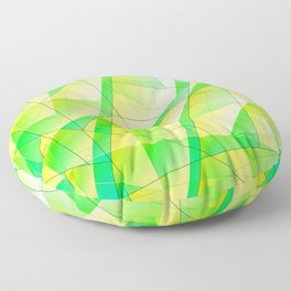 Bright bright fragments of crystals on irregularly shaped green and yellow triangles. Floor Pillow