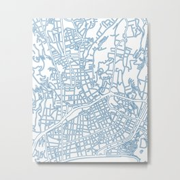 Street MAP Nice // Blue Metal Print