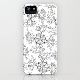 Hand painted black white abstract floral mandala iPhone Case