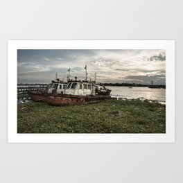 Old Police Boats Art Print