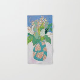 Lily and Eucalyptus Bouquet in Blue and Peach Floral Vase Hand & Bath Towel