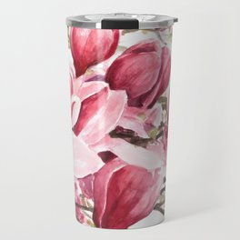 Watercolor Magnolia flowers Travel Mug