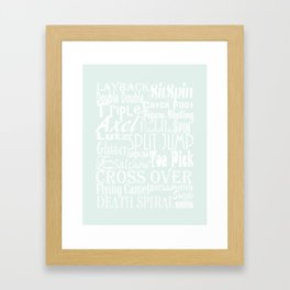 Pastel Blue Figure Skating Subway Style Typographic Design Framed Art Print