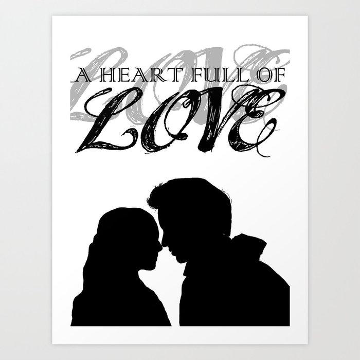 marius cosette a heart full of love silhouette minimalist art