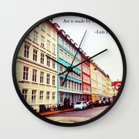 denmark Wall Clocks featuring Copenhagen Denmark by ©valourine