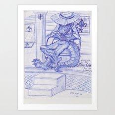 The Cajun Gator_Chillaxing Art Print
