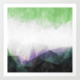 On the mountains- green watercolor - triangle pattern Art Print
