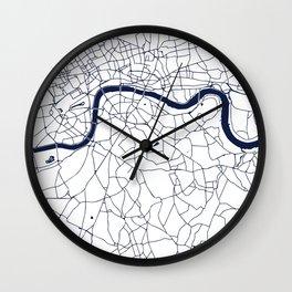 London White on Navy Street Map Wall Clock